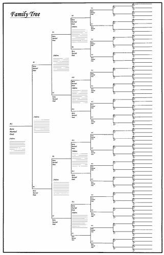 """5 Pack of Large Family Tree Charts 18"""" x 24"""""""