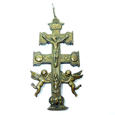 HUGE BRONZE CARAVACA CROSS PENDANT ANTIQUE 18TH RARE RELIQUARY CRUCIFIX 111 GRMS