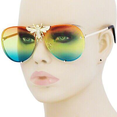 OVERSIZED Vintage DESIGNER Retro BIG BEE MOTH Style SUNGLASSES Gold Metal Frame (Gold Bee Sunglasses)