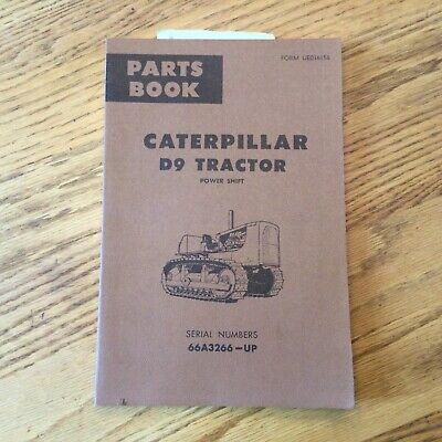 Cat Caterpillar D9 D9g Parts Manual Book Catalog Tractor Bulldozer Sn 66a3266-up