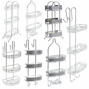 bathroom hanging floor caddy chrome storage rack shelf organiser basket ebay. Black Bedroom Furniture Sets. Home Design Ideas