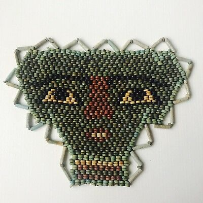 Ancient  Egyptian Multi-Coloured Faience Beads Mummy Mask Of Osiris