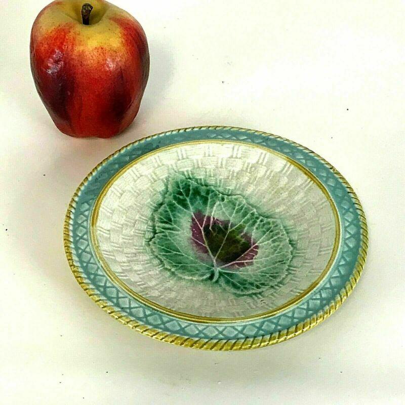 Antique Majolica Plate Begonia Basket