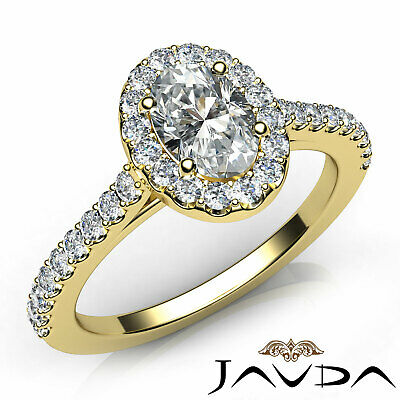 Halo French U Pave Women's Oval Diamond Engagement Ring GIA E Color VVS2 1.21Ct