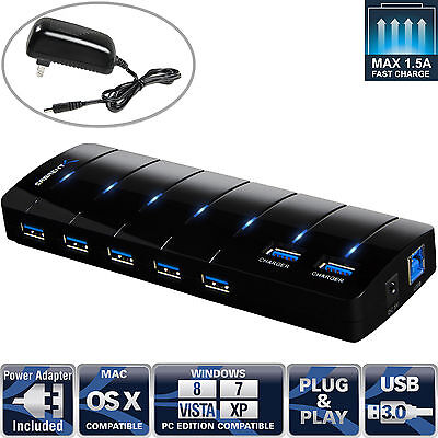 Sabrent 7 Port Usb 3 0 Hub With 4A Power Adapter Support Fast Charging  Hb J3u7