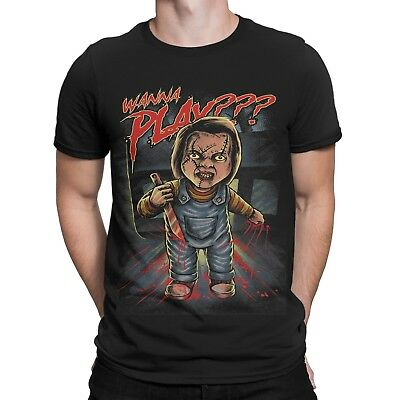 Chucky want to Play T-Shirt Horror Puppe Clown Halloween Film Movie Messer