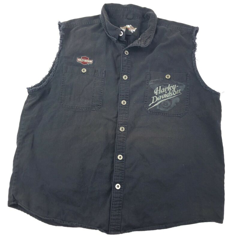 Vintage Harley Davidson Biker Denim Vest Mens XL Black Faded Embroidered