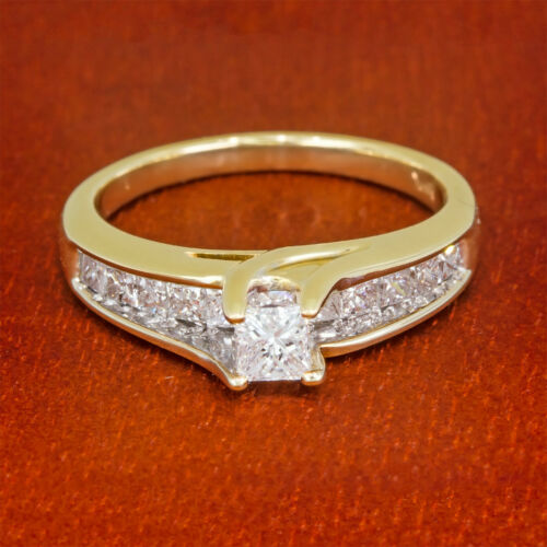 Diamond Engagement Ring 1 Ct Princess-cut 14k Yellow Gold Bridge One Carat Kay
