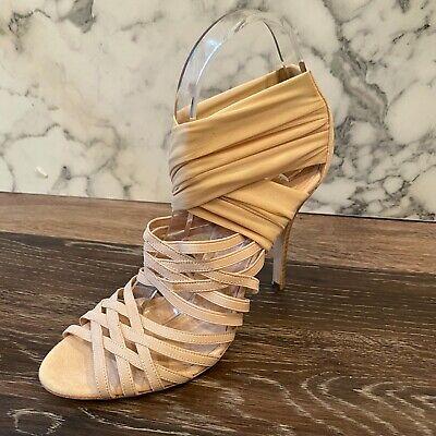 FENDI Beige Tan Strappy Criss-Cross Stretchy Mesh Open-Toe Sandals - US 8.5