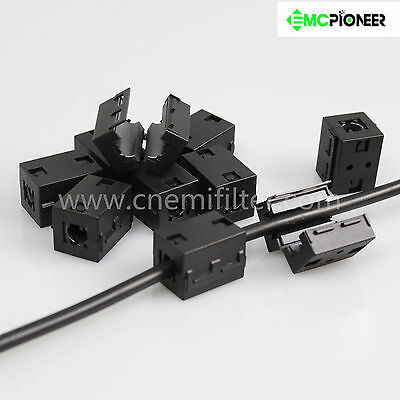 10pc 10mm Clip On Noise Suppressor Emiemc Cable Clamp Ferrite Core Split Filter