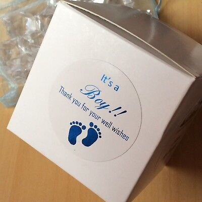 It's a boy baby shower Gift Stickers white round thank you blue foil Stickers (Baby Shower Thank You Gifts)