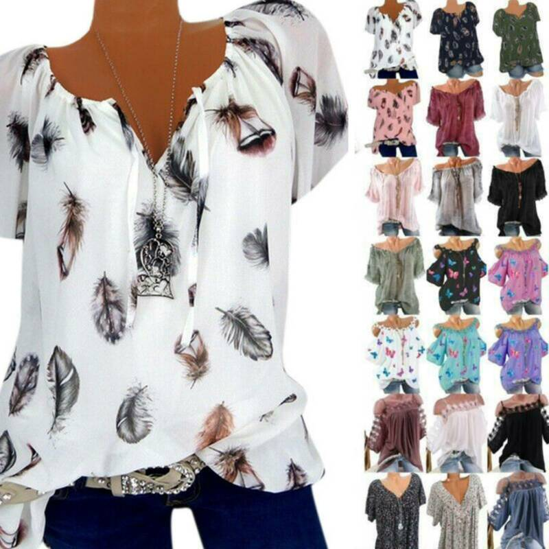 Plus Size Women Floral Blouse Top Summer Casual Short Sleeve V-Neck Loose Shirt Clothing, Shoes & Accessories