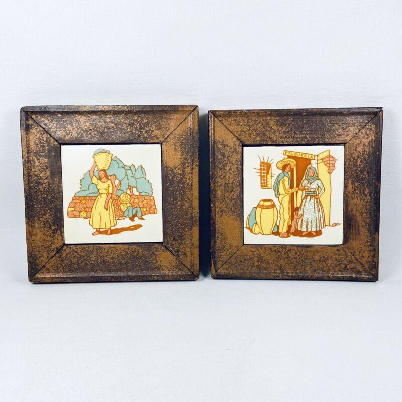 Pr Gladding McBean Hermosa Wood Frame Tile Mexican Woman Vaqueros Pulqueria vtg