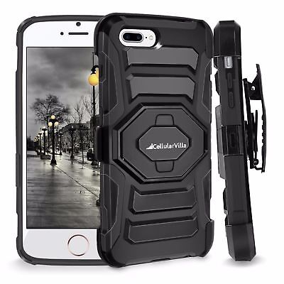 - FOR IPHONE 7 Plus HEAVY DUTY RUGGED HOLSTER CASE WITH KICKSTAND BELT CLIP COVER