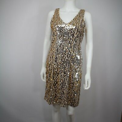Olivia Matthews Womens Bodycon Dress Size 6 Sequins Party Halloween Disco Gold
