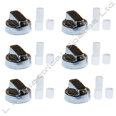 6 X Universal New World Silver Chrome Cooker Oven Hob Control Knob