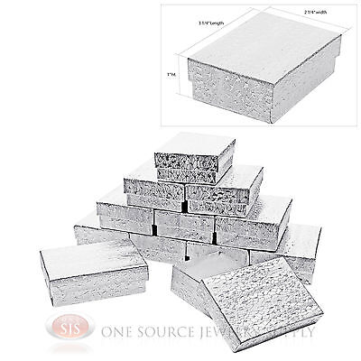 """12 Silver Foil Cotton Filled Jewelry Gift Boxes Pendant Charm Box 3 1/4"""" x 2 1/4"""