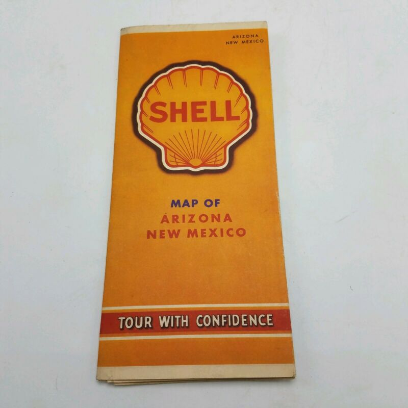 Vintage Shell Oil Map of Arizona New Mexico