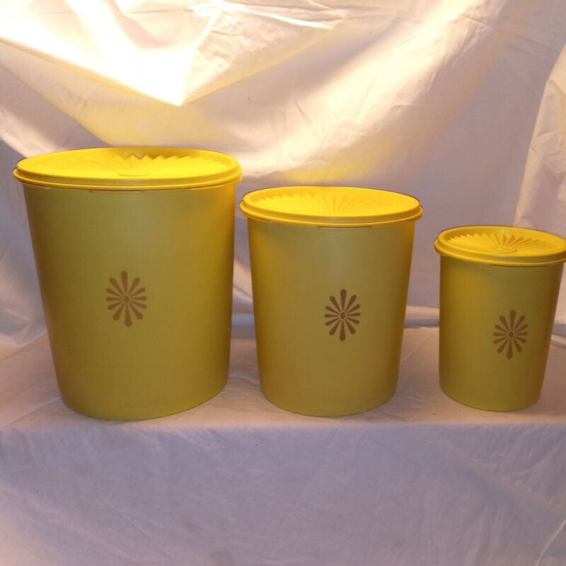 Vintage Yellow Tupperware Canisters with Lids Lot Set of 3
