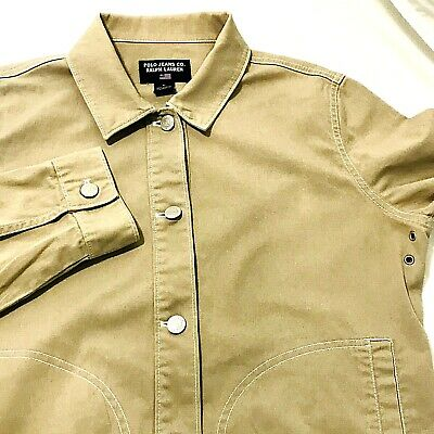 Polo Jeans Co. Ralph Lauren Denim Shirt Jacket Women L Tan Beige Button Stretch