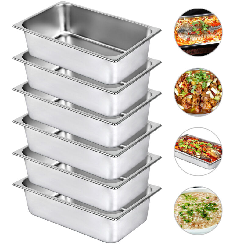 Steam Table Pans Bain-Marie 6 Pack Chafing Dish 21.7 Quart Table Food Pan