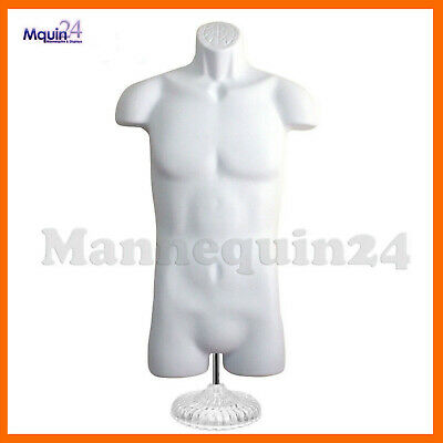 White Mannequin Male Torso W Table Top Stand Hanger - Plastic Dress Form