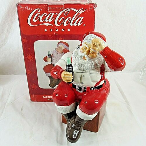 Coca Cola Earthenware Santa Cookie Jar Holiday Portraits Christmas Sakura