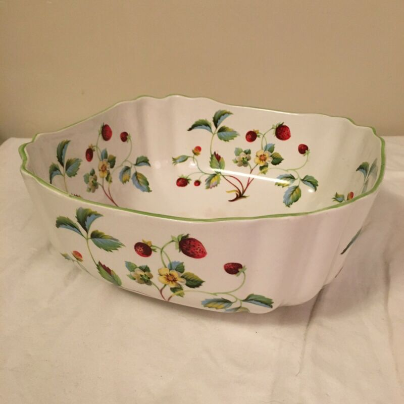 """James Kent China Old Foley Strawberry Square Serving Bowl 8.5"""" x 3.75"""" Tall FS!"""