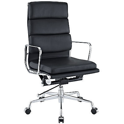 Used, Eames Office Chair Soft Padded High Back Reproduction Aluminium Leather Black for sale  USA