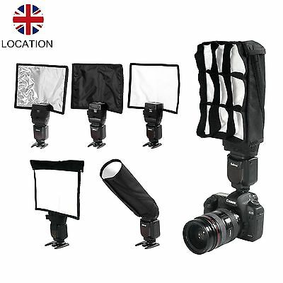 5 in 1 Foldable Speedlight Reflector Snoot Flash Softbox Diffuser Bender Beam UK