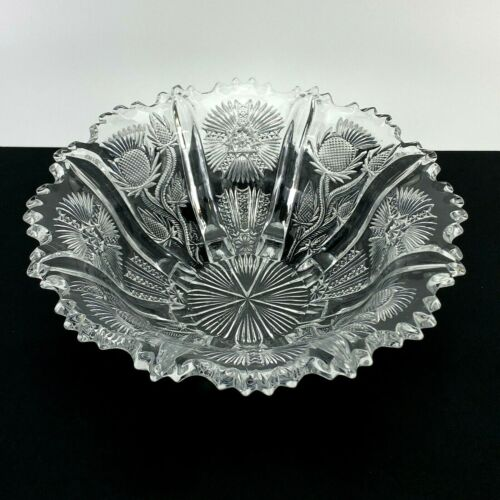 """Paneled Thistle Wright Glass, L G, 8"""" Master Berry Bowl Vintage"""