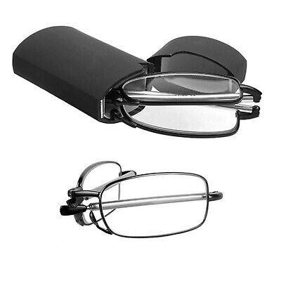 Unisex Pocket Folding Foldable Reading Glasses Rotation Eyeglass +Case (Folding Eyeglasses)