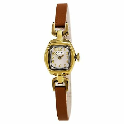 Bulova Women's 97L153 Classic Rectangle Gold Case Brown Leather Strap Watch