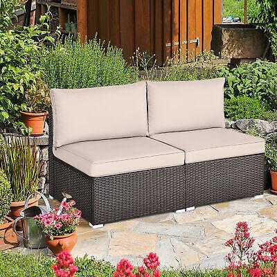 2PCS Wicker Patio Sectional Armless Sofa Outdoor Rattan Furniture Set w/ Cushion