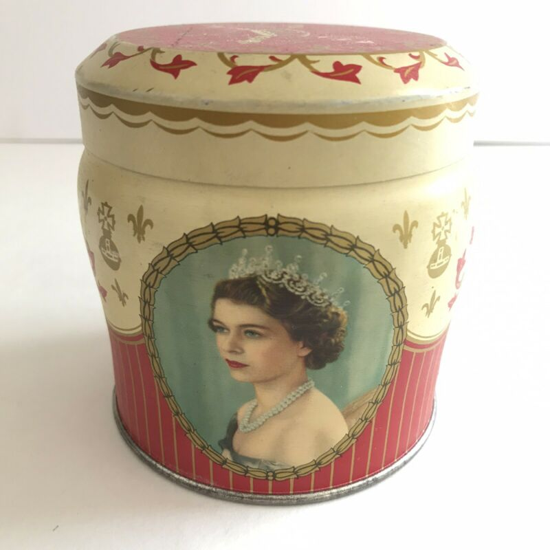Queen Elizabeth Coronation 1953 Souvenir Tin Henry Thorne Co. Toffee & Chocolate