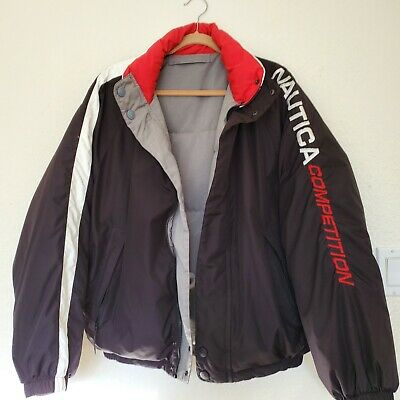 Nautica Competition L Puffer Duck Down Reversible Emblem Black Gray Jacket Coat