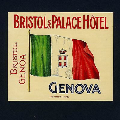 "Bristol&Palace Hotel GENOVA Italy Old RICHTER Luggage Label Kofferaufkleber ""M"""