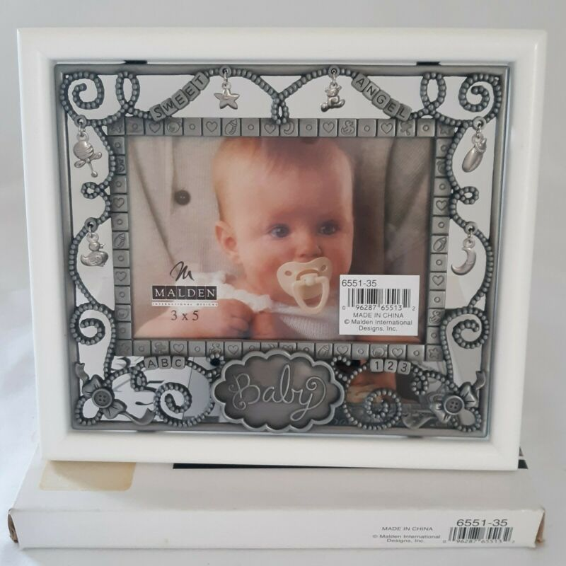 Malden Pewter Baby Infant Photo Picture Frame Nursery Parade Duck Dangly Charms
