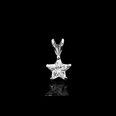 Star Shape Created Diamond Pendant Solid 14K White Gold Solitaire Small Charm