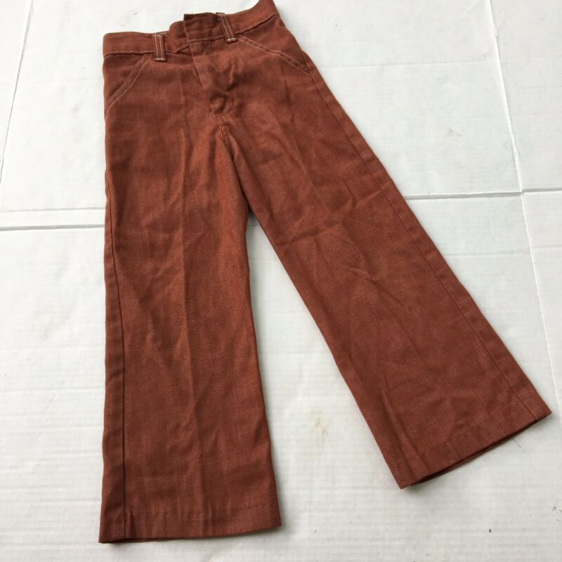 Vtg Pants 4t 5t Flare Bell Bottom 60s 70s Rust Red Brown Jeans Western Kids Eux