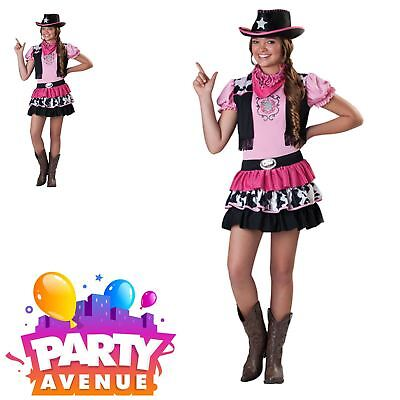 Teens Giddy Up Cowgirl Girls Western Fancy Dress Up Childrens Costume - Cowgirl Dress Up Clothes