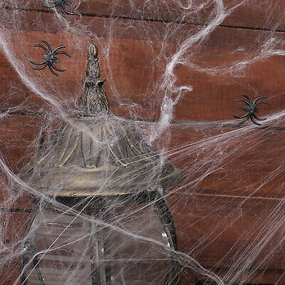 Funny Halloween Decoration Stretchable Spider Web Cobweb White with 5 Spiders - Spider Web Halloween Decoration