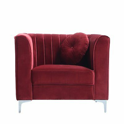 Red Traditional Plush Velvet Living Room Armchair With One Accent Pillows