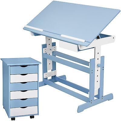 Kinderschreibtisch mit Rollcontainer Schreibtisch neig- & höhenverstellbar blau