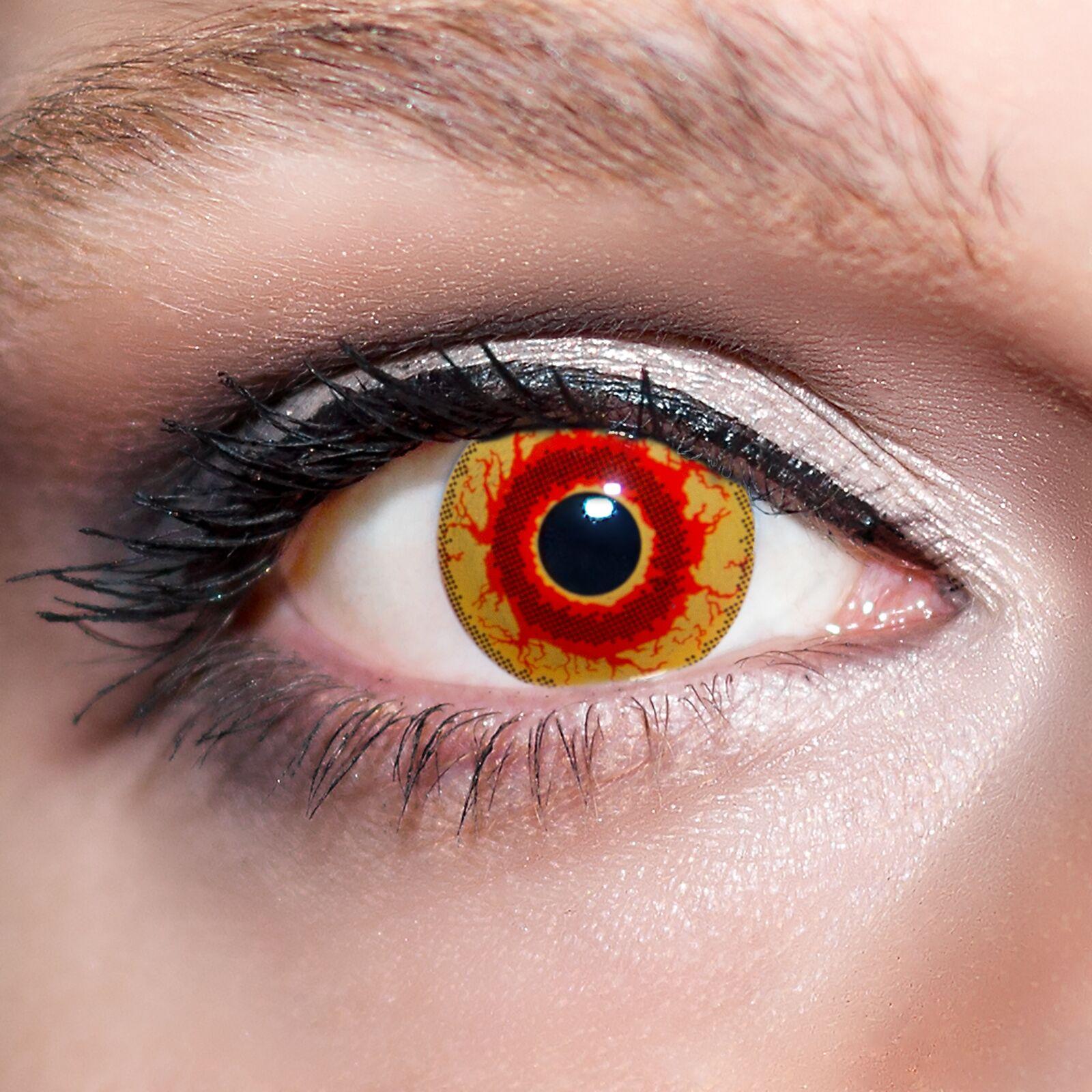 2 Rote Kontaktlinsen mit Behälter -Halloween- Dämon, farbige Jahreslinsen;K537