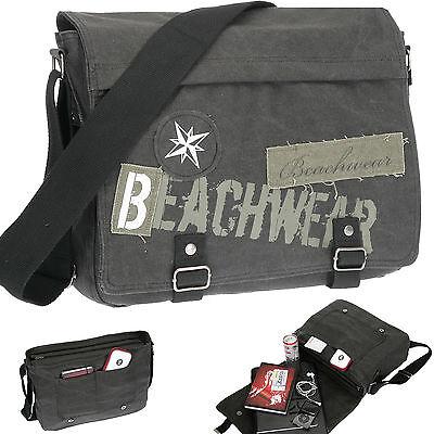 15.4 Laptop-tasche Schwarz (Laptoptasche BEACHWEAR Canvas Tasche Schultertasche Notebook Fach 15,4