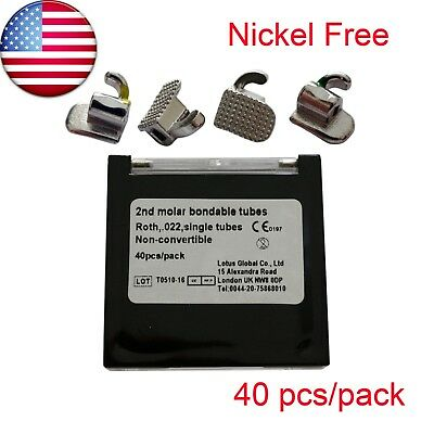 Nickel Free Dental Orthodontic Buccal Tube Mini Roth 022 2nd Molar 40 Pcs10 Set