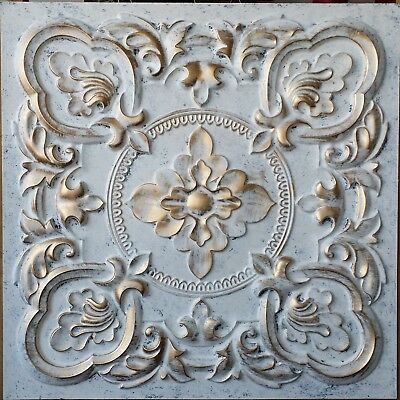 Suspended ceiling tiles Faux tin white gold bar decor wall panel 10tile/lot PL30
