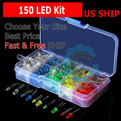 150 pcs 3mm 5mm LED Light White Yellow Red Green Assorted Assortment Kit DIY Set