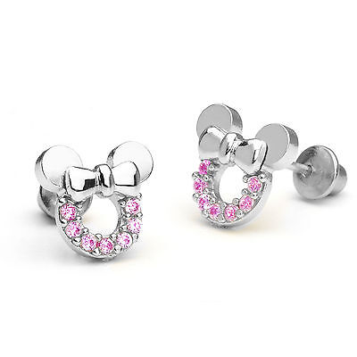925 Sterling Silver Pink Mouse Children Screwback Baby Girls Earrings
